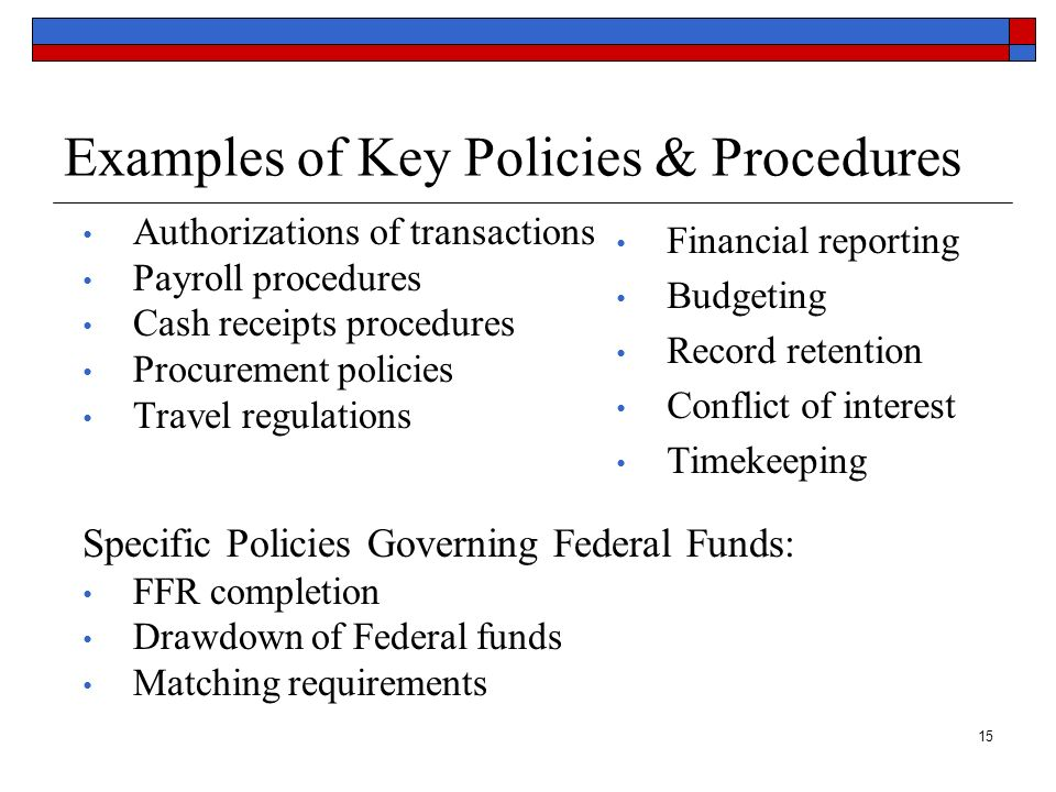 Examples of Key Policies & Procedures
