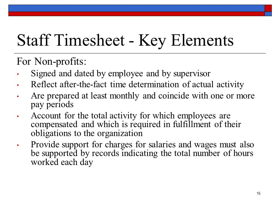 Staff Timesheet - Key Elements