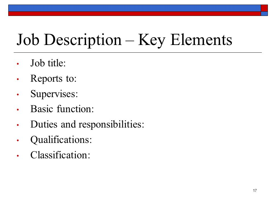 Job Description – Key Elements