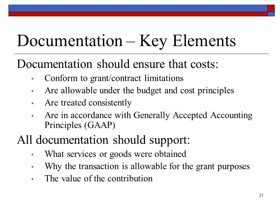 Documentation – Key Elements