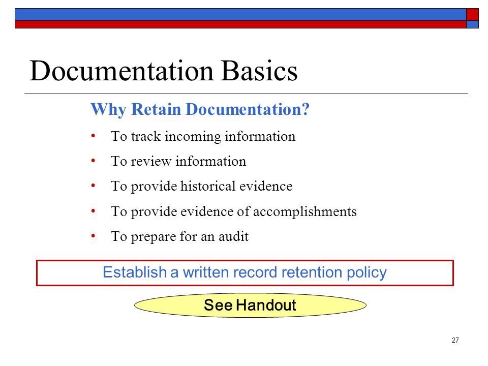 Establish a written record retention policy