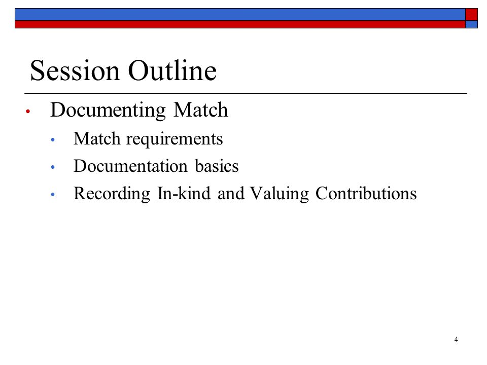 Session Outline Documenting Match Match requirements