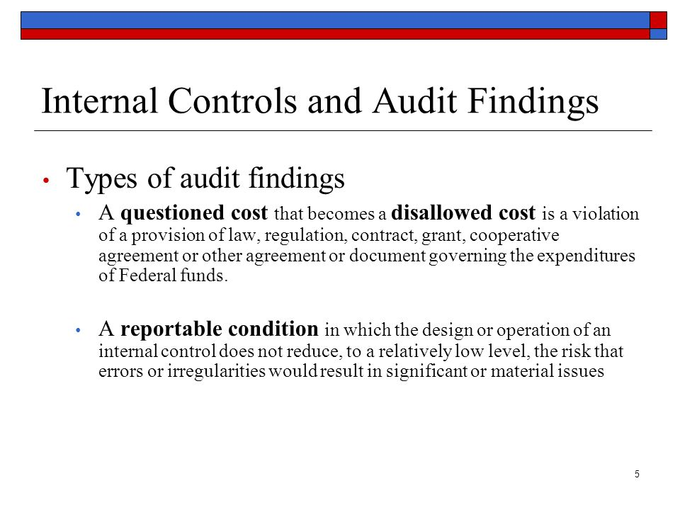 Internal Controls and Audit Findings