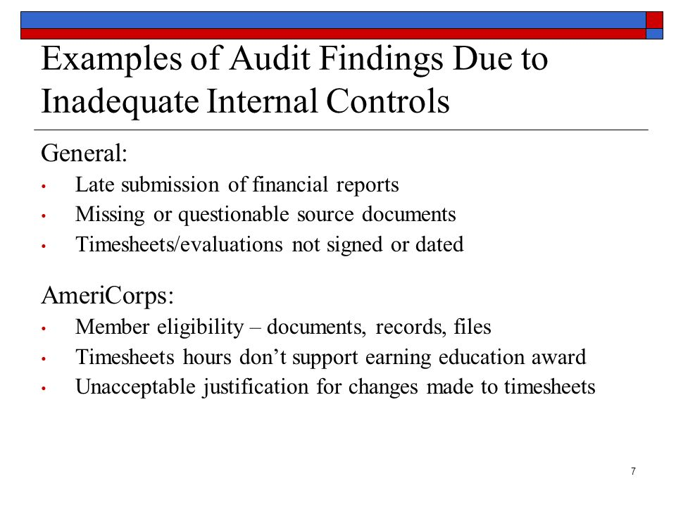 Examples of Audit Findings Due to Inadequate Internal Controls