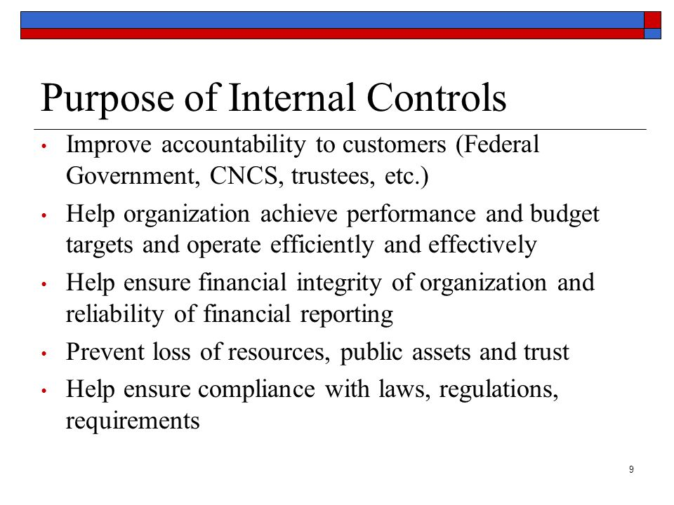 Purpose of Internal Controls