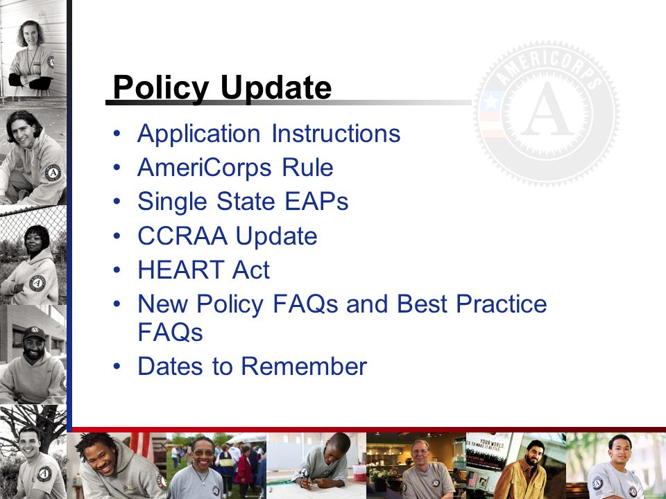 Policy Update Application Instructions AmeriCorps Rule