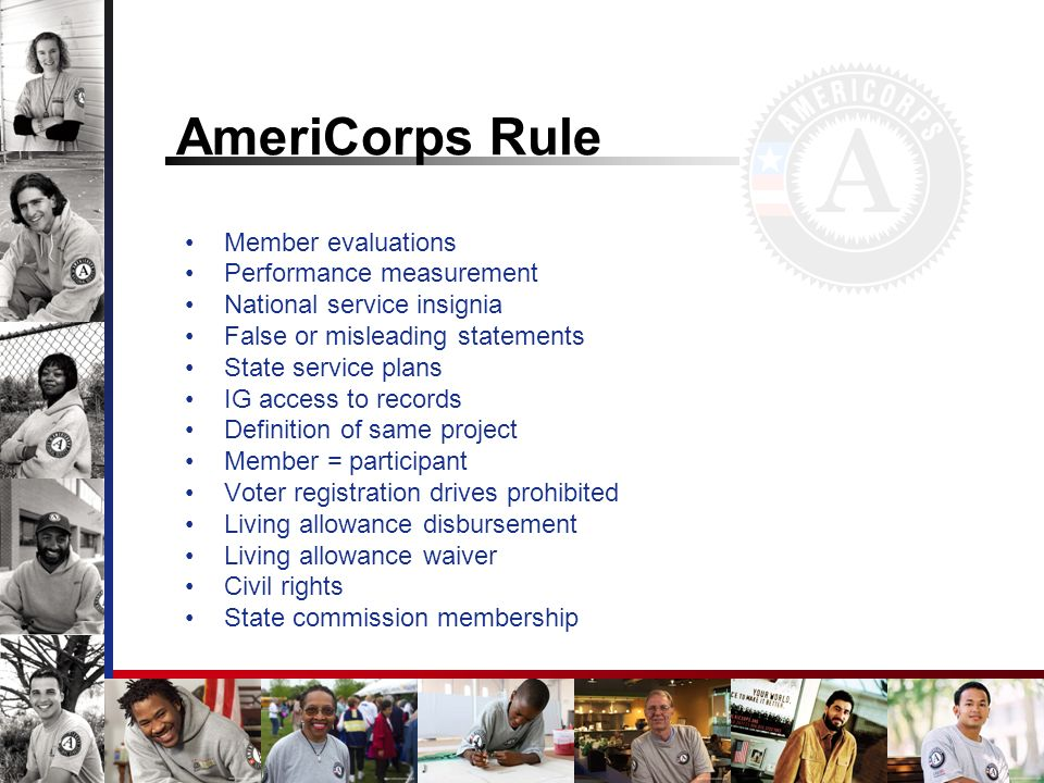 AmeriCorps Rule Member evaluations Performance measurement