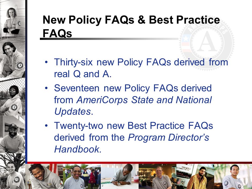 New Policy FAQs & Best Practice FAQs