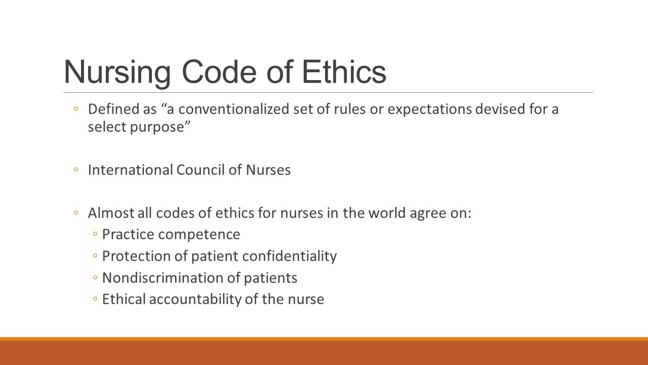 codes of ethics in nursing As the nursing profession progresses throughout the years, its nature becomes more complex in meeting the professional standards and codes of ethics.