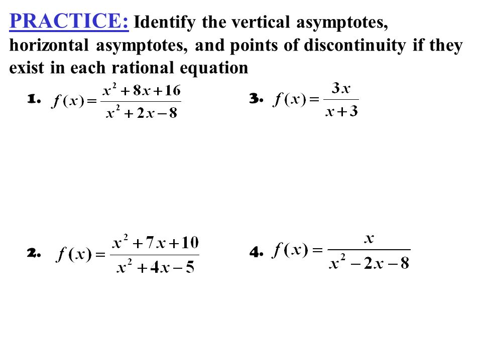 how to find vertical asymptotes from an equation