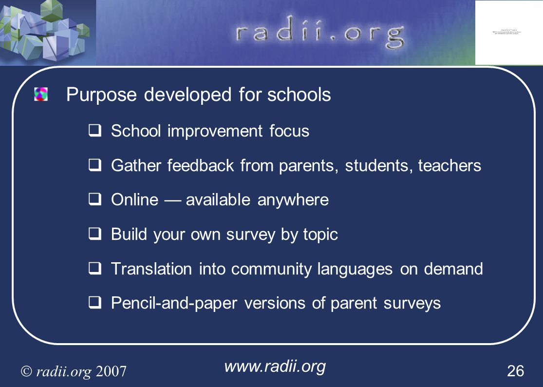 Purpose developed for schools