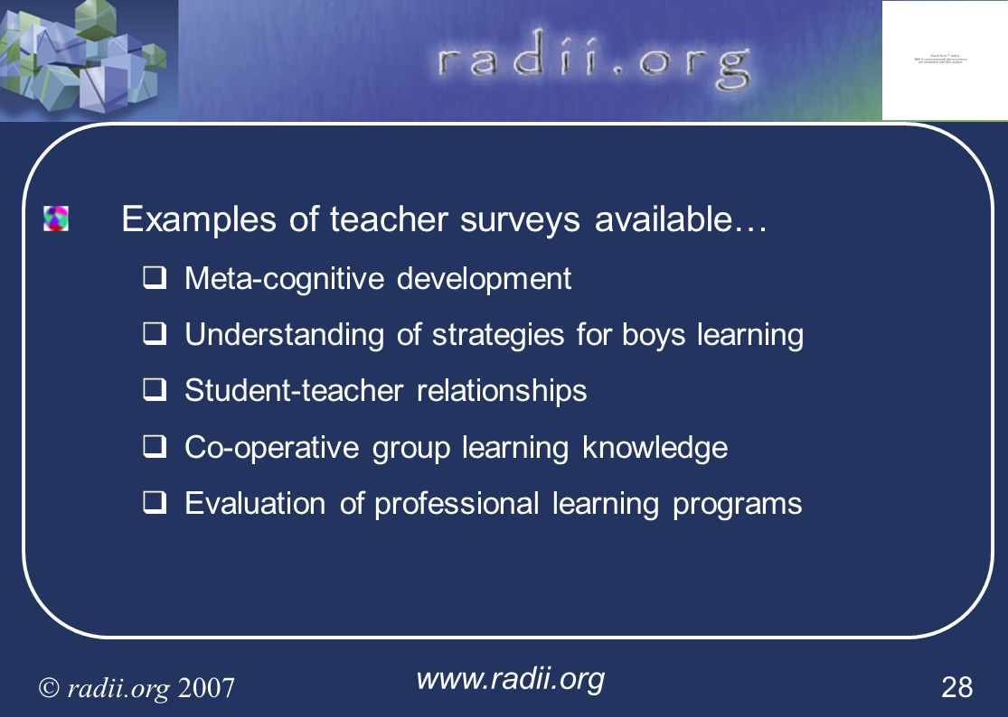 Examples of teacher surveys available…