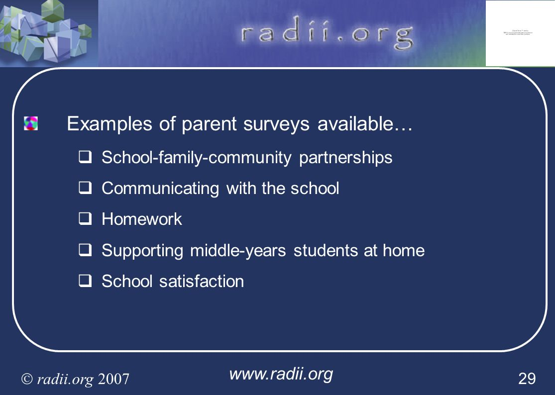 Examples of parent surveys available…