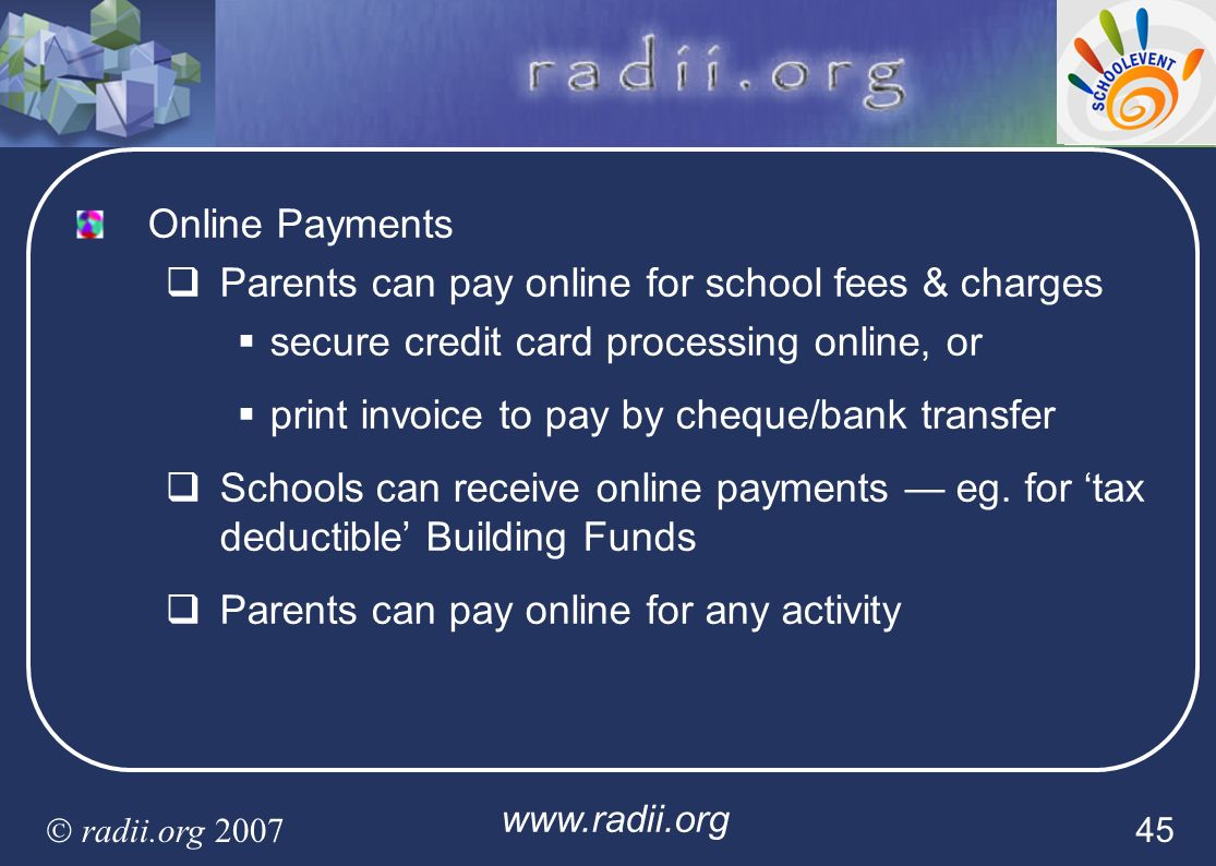 Parents can pay online for school fees & charges