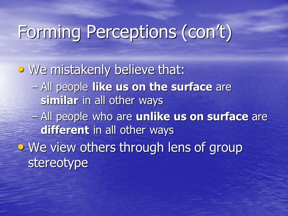 Forming Perceptions (con't)