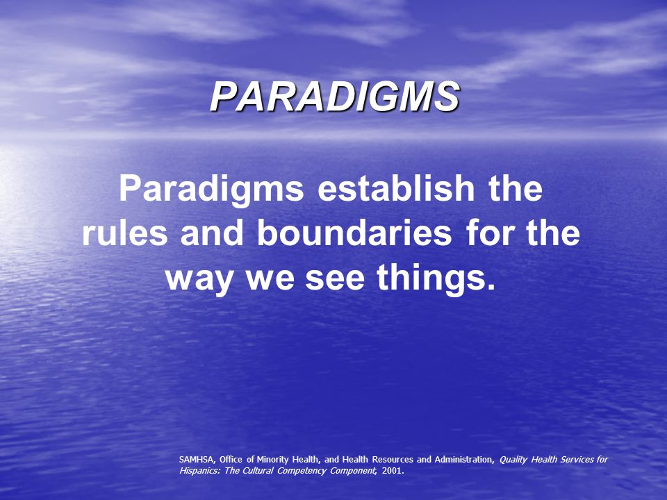 PARADIGMS Paradigms establish the rules and boundaries for the way we see things.