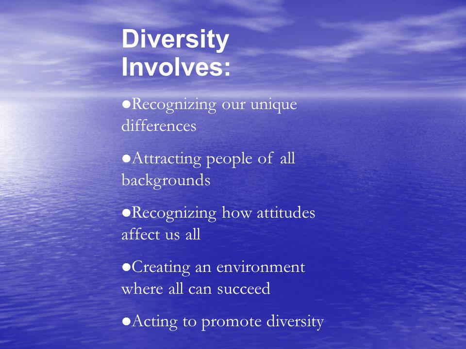 Diversity Involves: Recognizing our unique differences