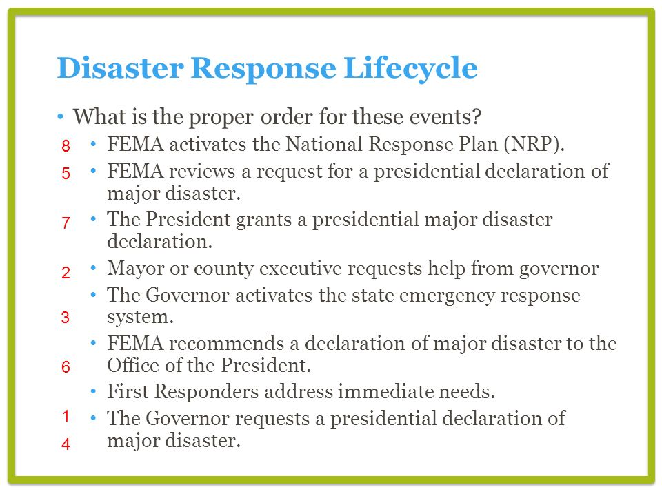 Disaster Response Lifecycle