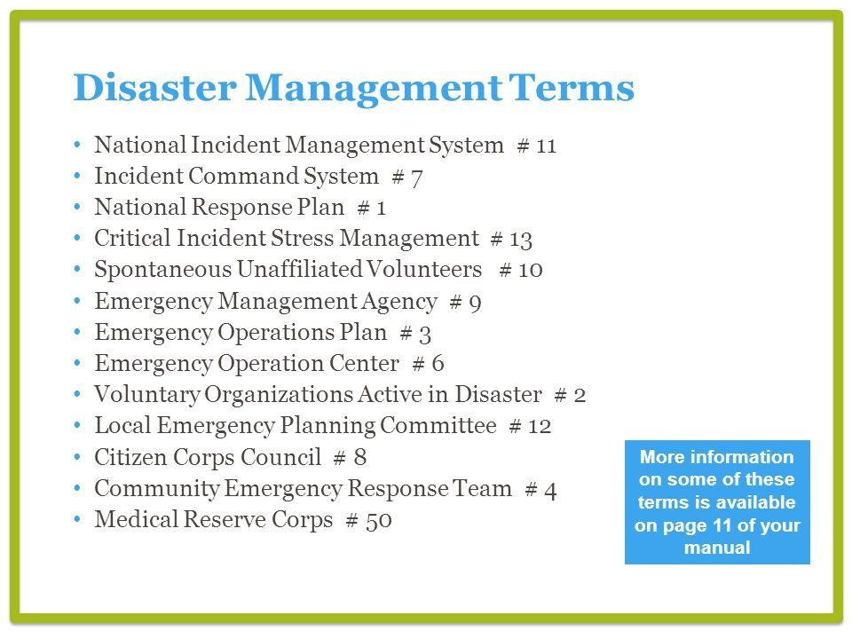 Disaster Management Terms