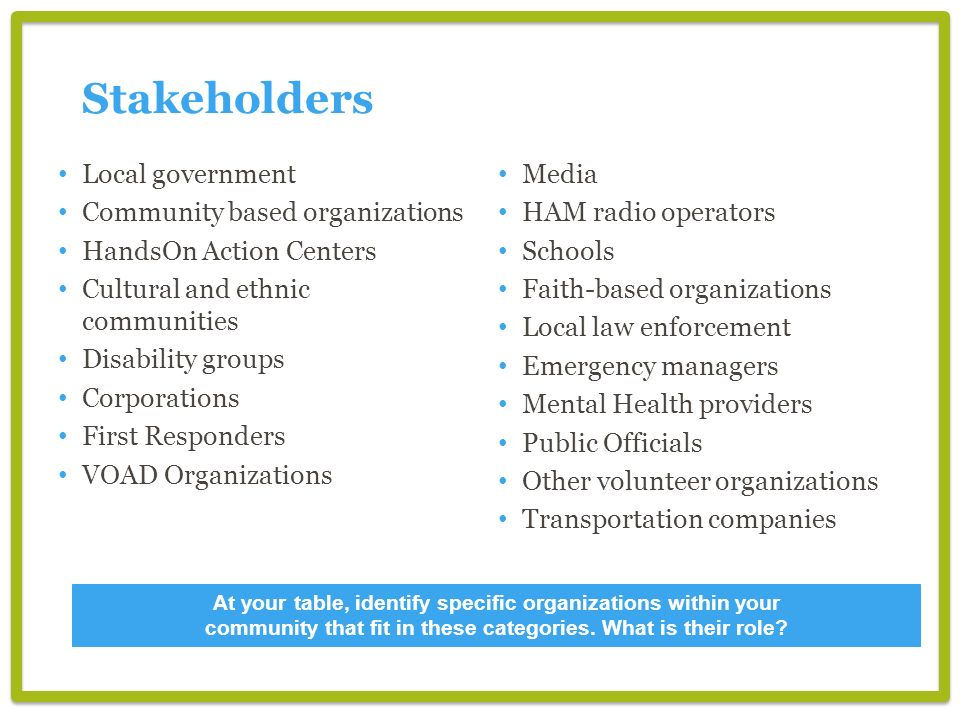 Stakeholders Local government Community based organizations
