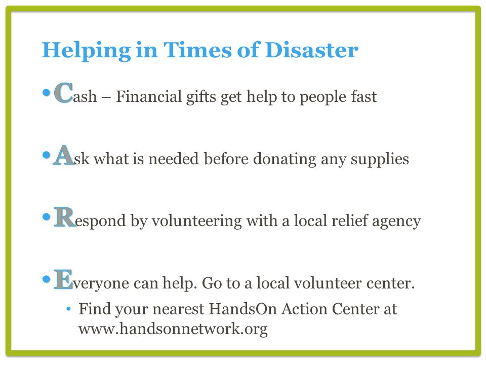 Helping in Times of Disaster