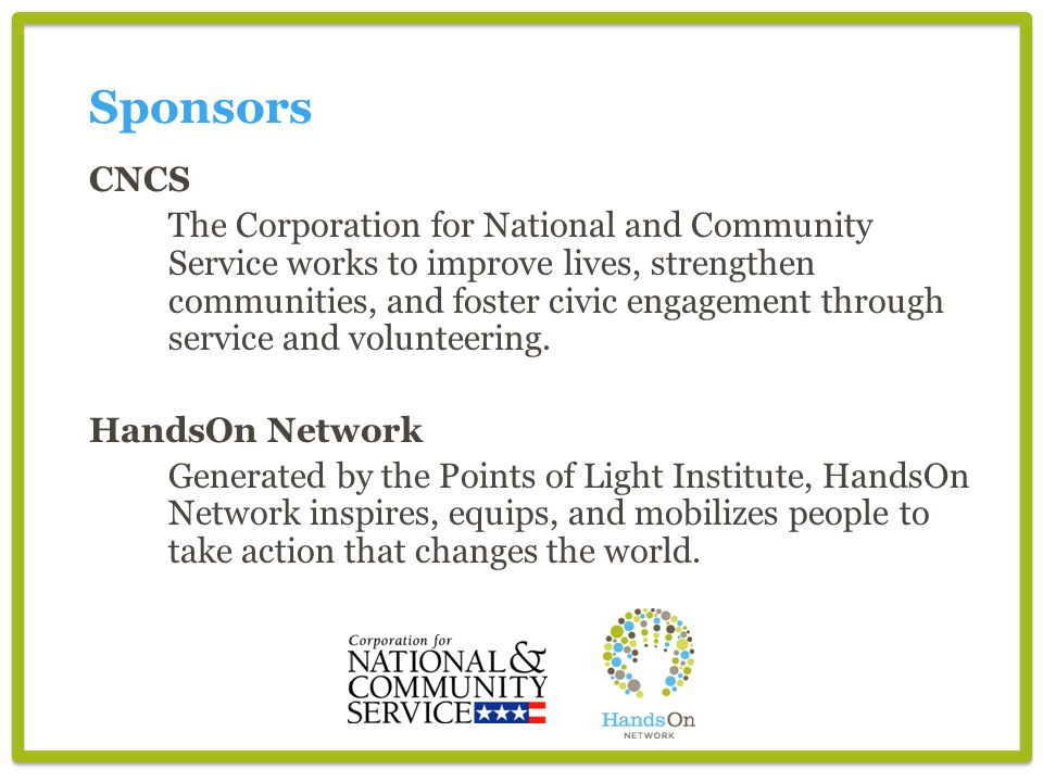 Sponsors CNCS.