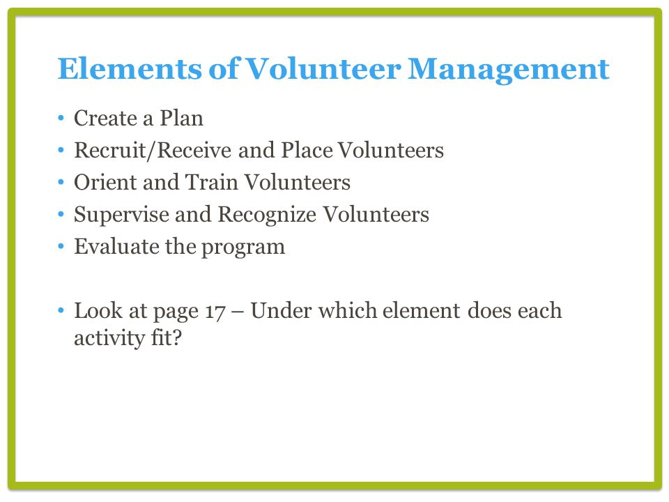 Elements of Volunteer Management
