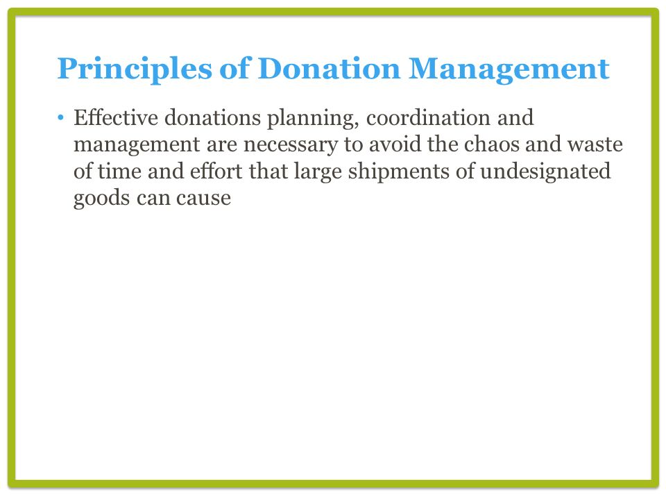 Principles of Donation Management
