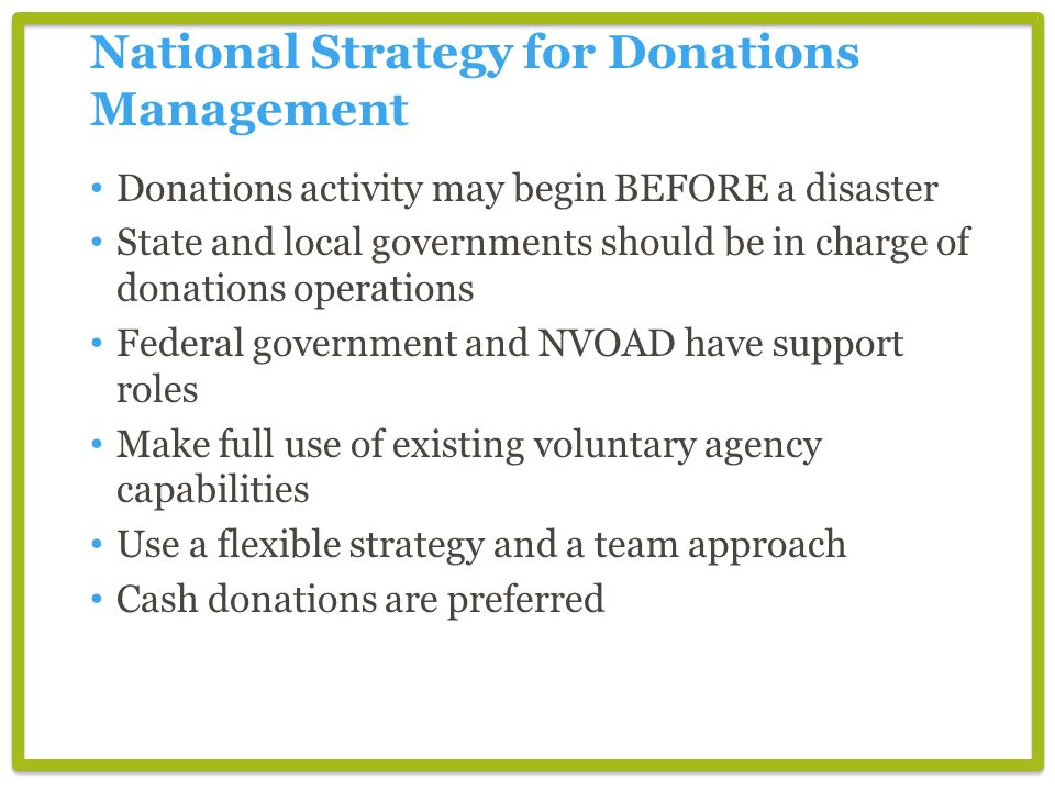 National Strategy for Donations Management