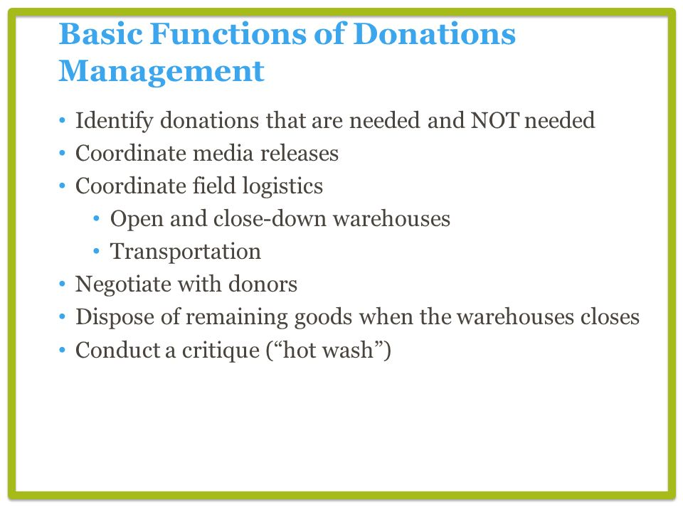 Basic Functions of Donations Management