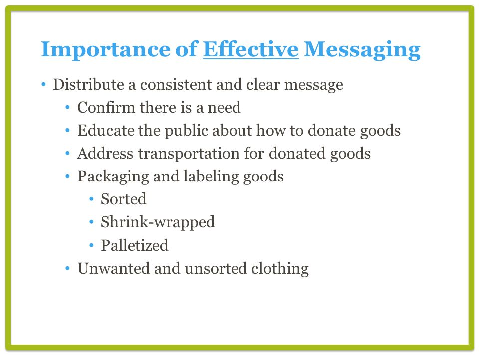 Importance of Effective Messaging