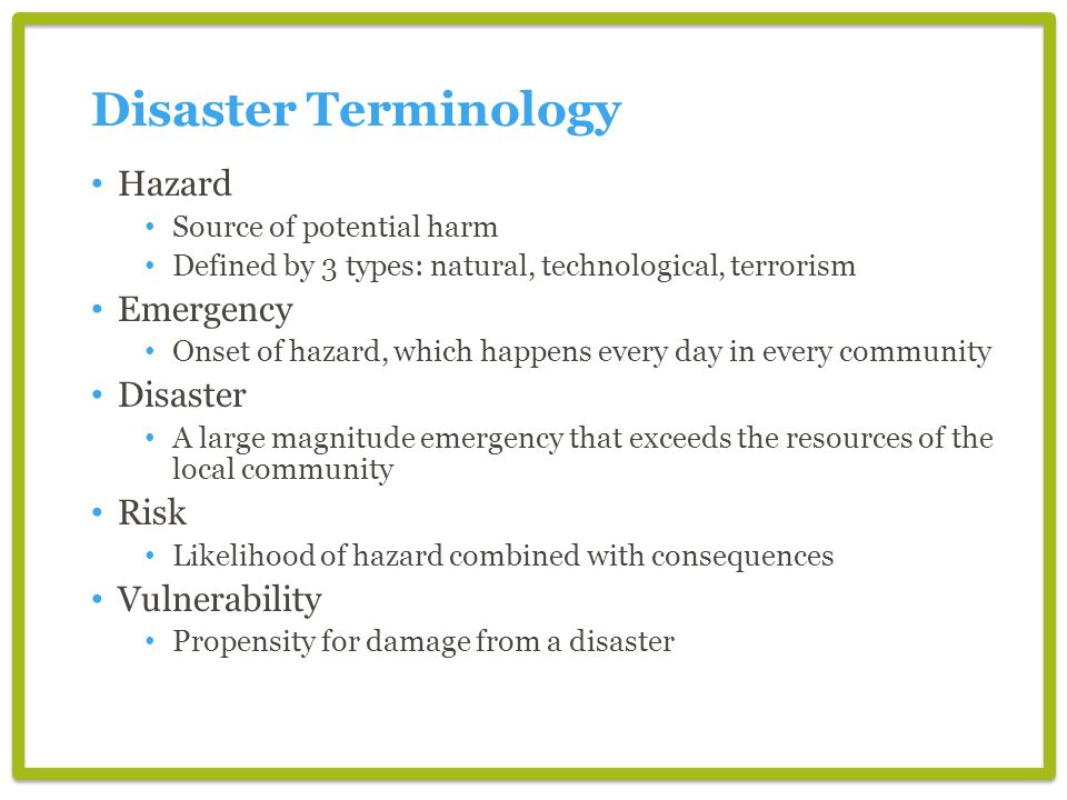 Disaster Terminology Hazard Emergency Disaster Risk Vulnerability