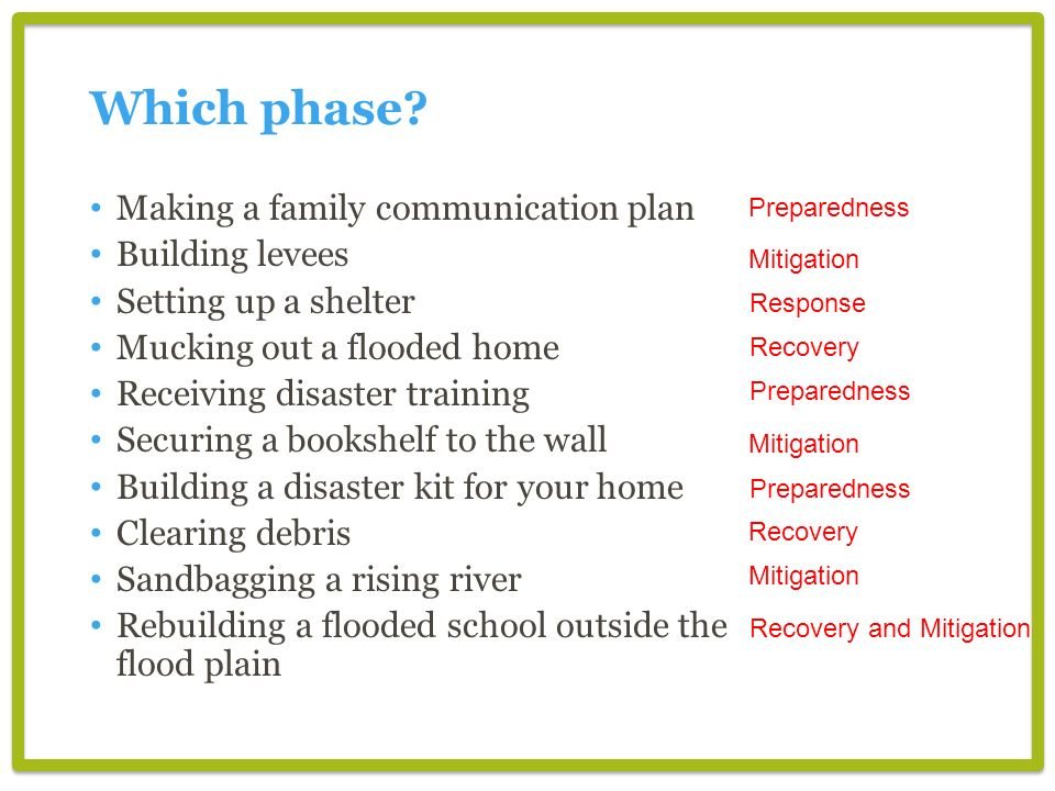Which phase Making a family communication plan Building levees