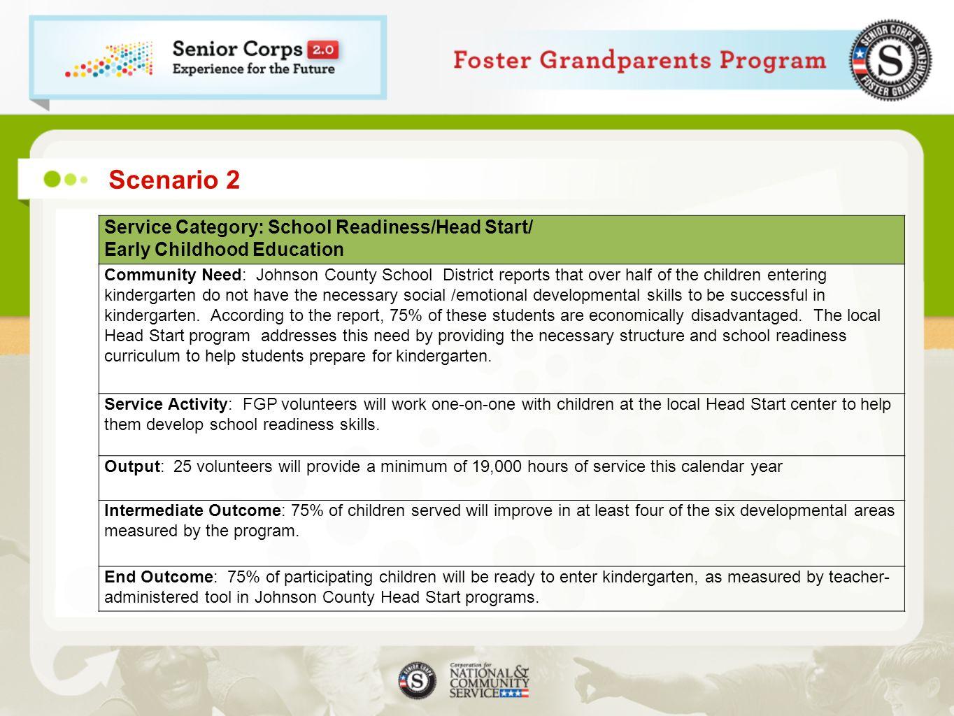 Scenario 2 Service Category: School Readiness/Head Start/