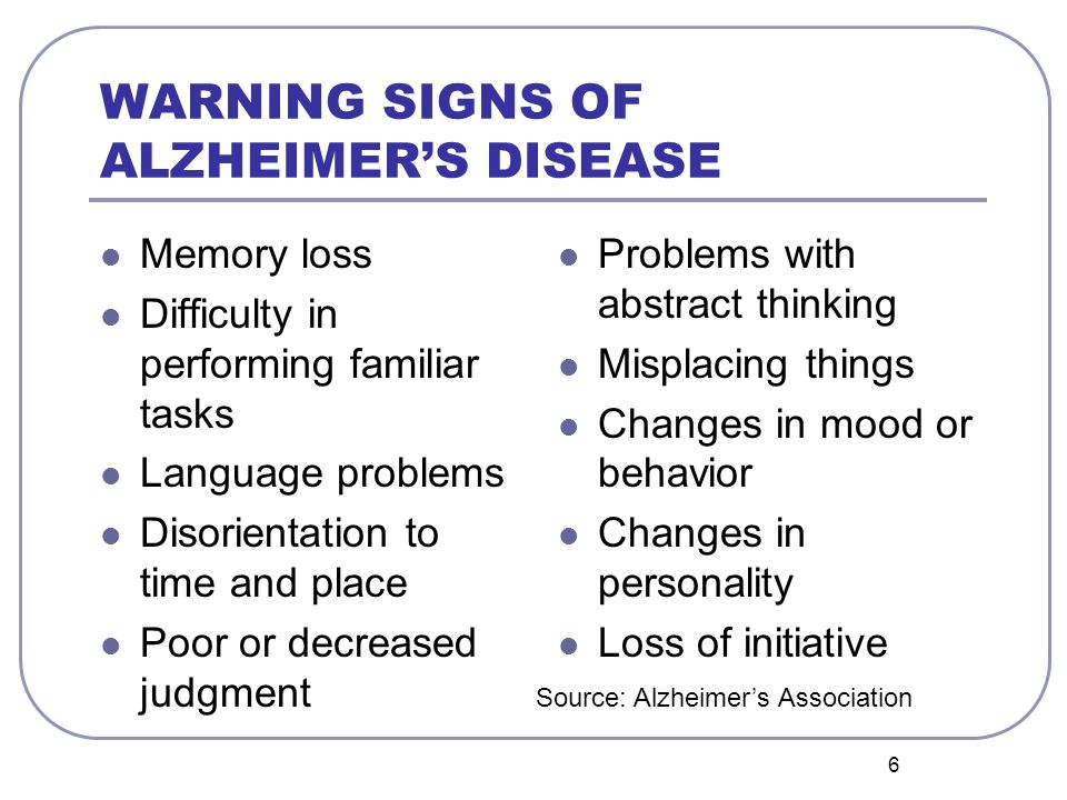 WARNING SIGNS OF ALZHEIMER'S DISEASE