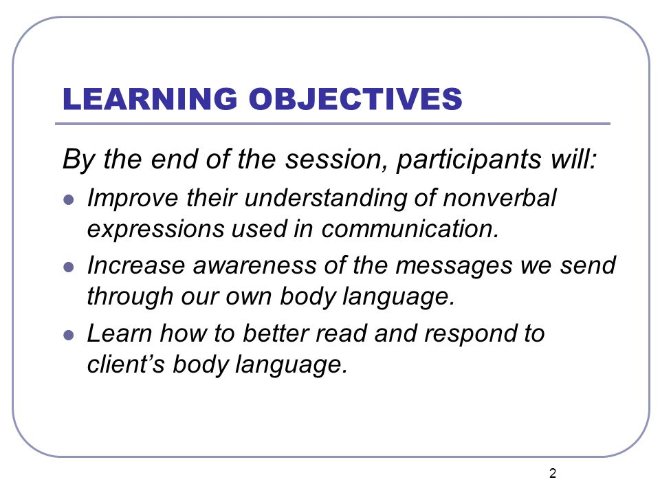 LEARNING OBJECTIVES By the end of the session, participants will: