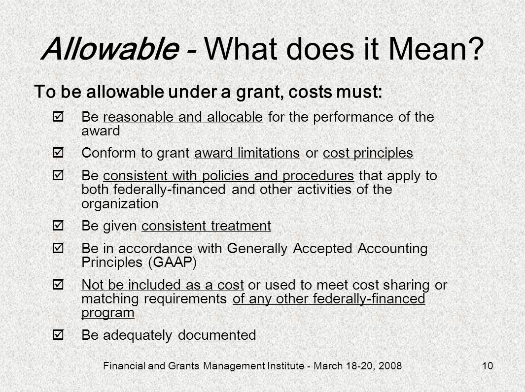 Allowable - What does it Mean