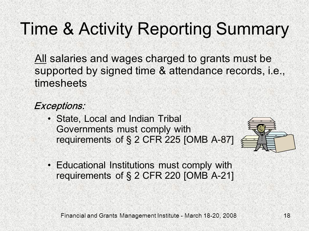Time & Activity Reporting Summary