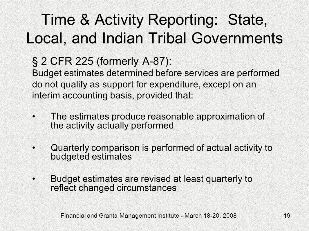 Time & Activity Reporting: State, Local, and Indian Tribal Governments