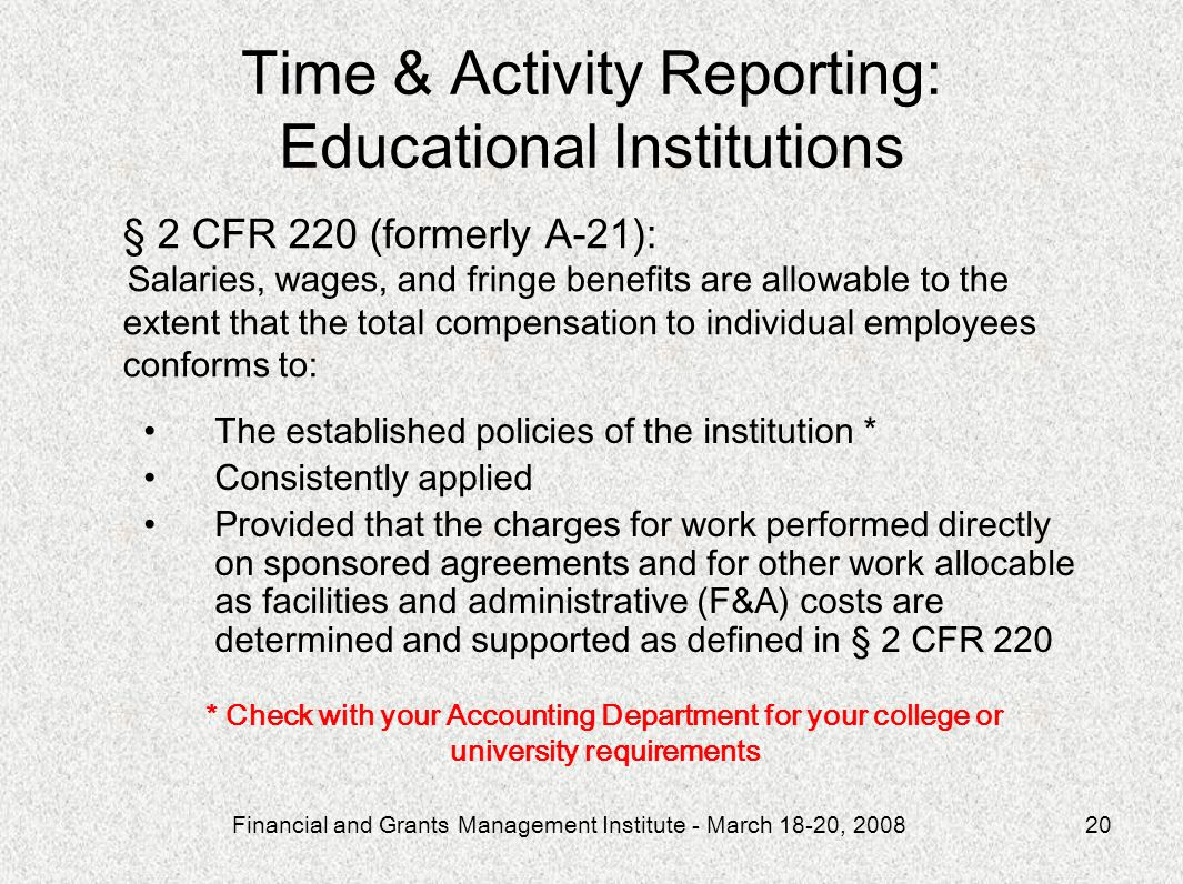 Time & Activity Reporting: Educational Institutions