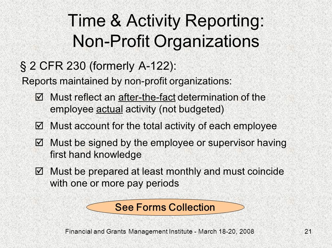 Time & Activity Reporting: Non-Profit Organizations
