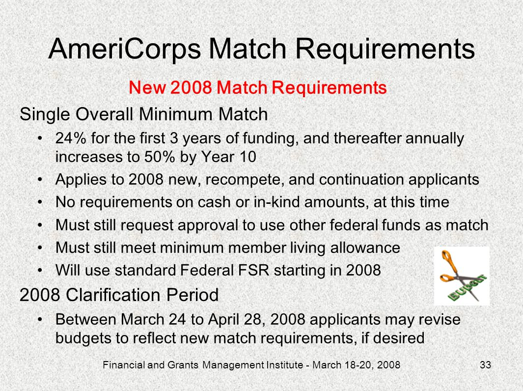 AmeriCorps Match Requirements