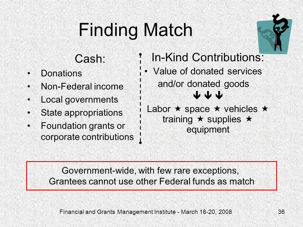 Finding Match Cash: In-Kind Contributions: Value of donated services