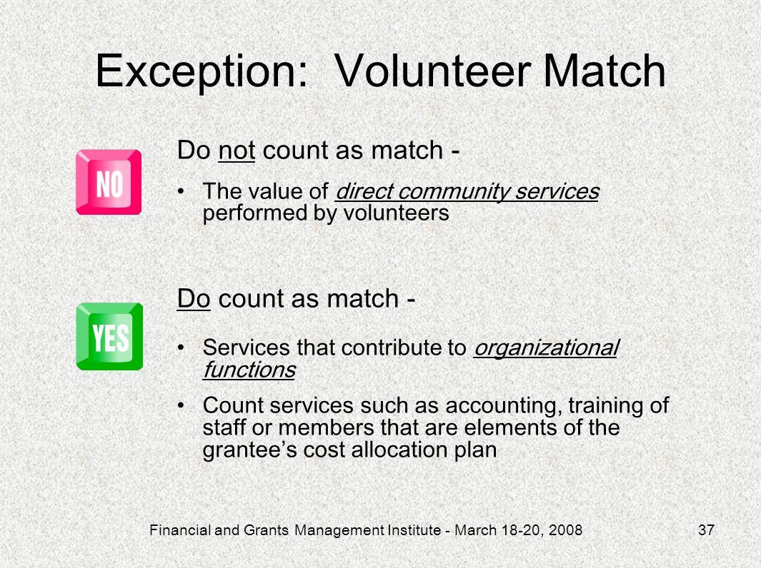 Exception: Volunteer Match