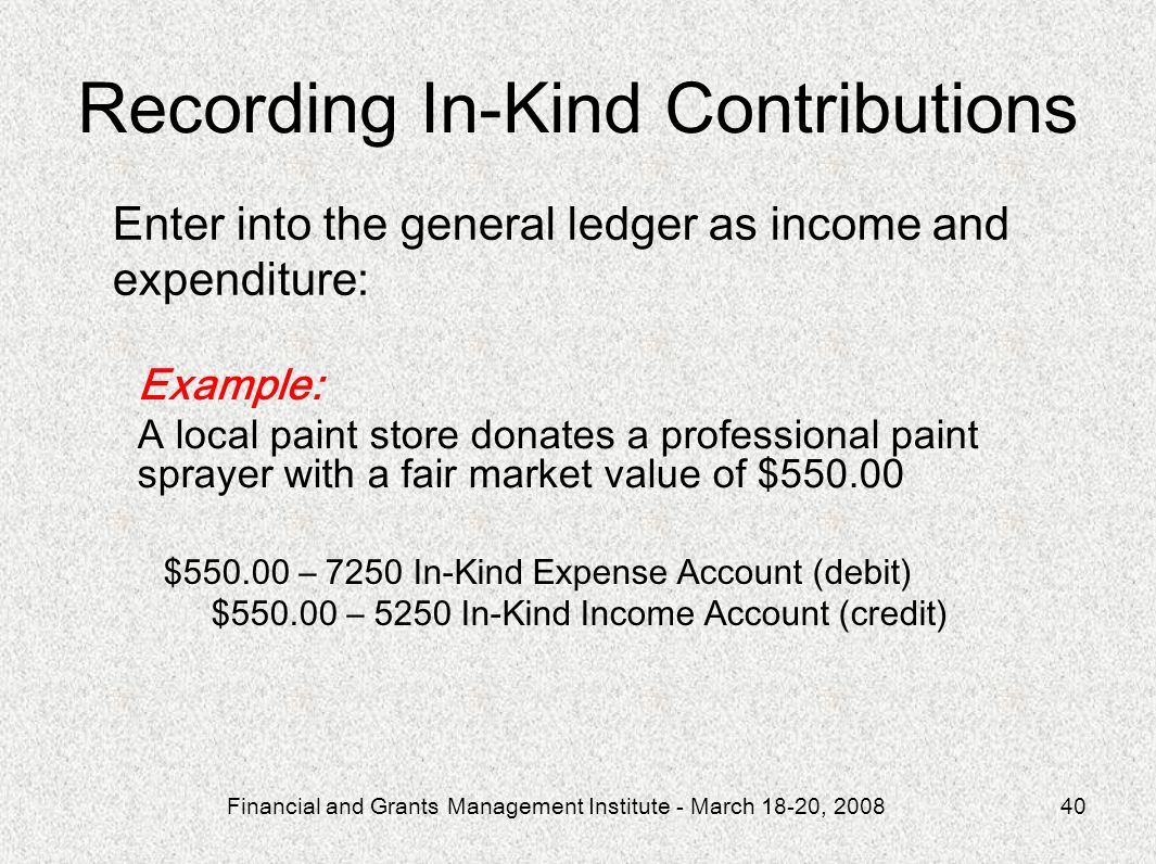 Recording In-Kind Contributions