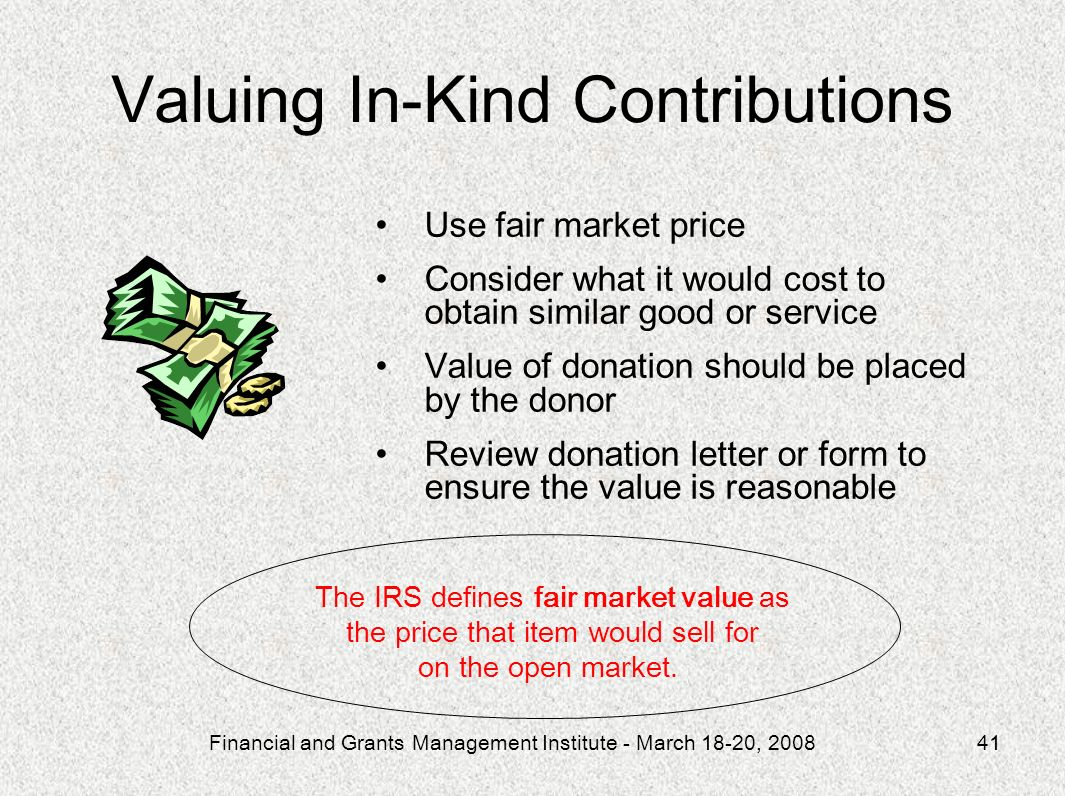 Valuing In-Kind Contributions