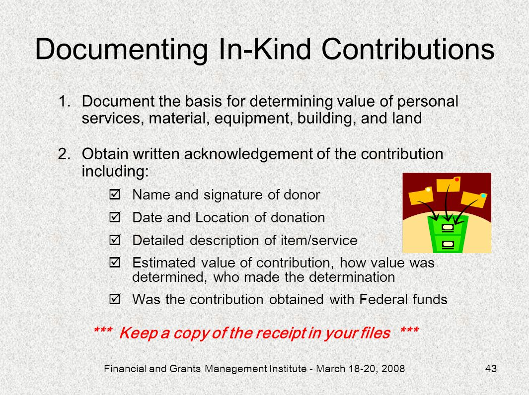 Documenting In-Kind Contributions