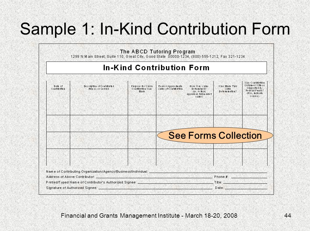 Sample 1: In-Kind Contribution Form