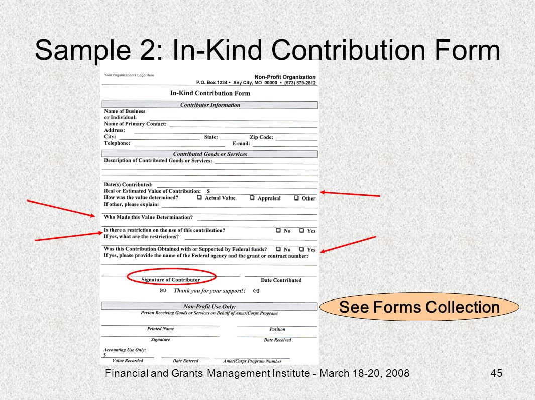Sample 2: In-Kind Contribution Form