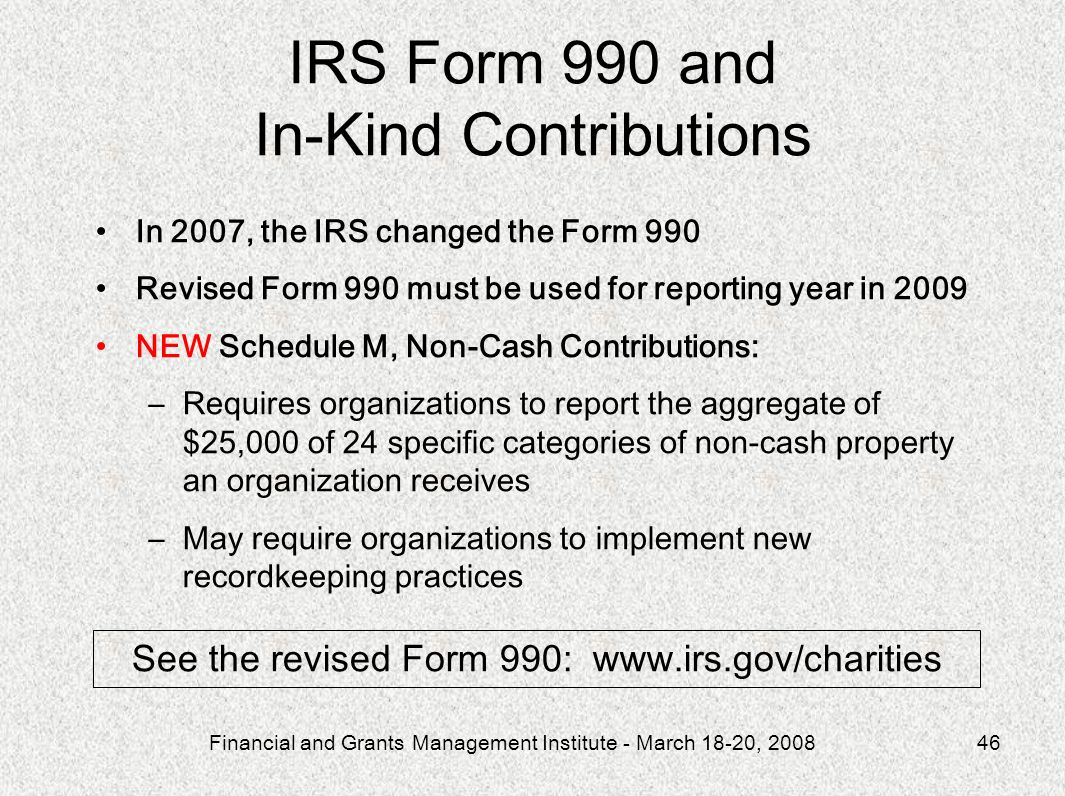 IRS Form 990 and In-Kind Contributions